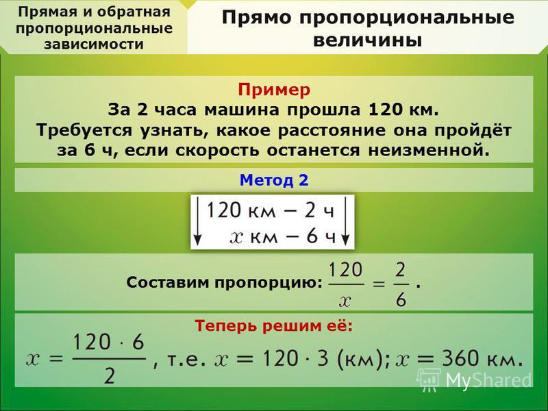 Прямая и обратная пропорциональные зависимости Прямо пропорциональные величины Пример За 2 часа машина прошла 120 км. Требуется узнать, какое расстояние она пройдёт за 6 ч, если скорость останется неизменной. Составим пропорцию:. Метод 2 Теперь решим