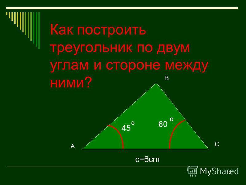 12 Проверка. Наложите шаблон 2 на свой построенный треугольник. Если шаблон и треугольник совпали, то вы построили треугольник правильно. c=7cm a=5cm 60 o