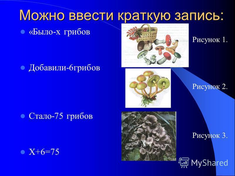 Можно ввести краткую запись: «Было-х грибов Добавили-6 грибов Стало-75 грибов Х+6=75 Рисунок 1. Рисунок 2. Рисунок 3.