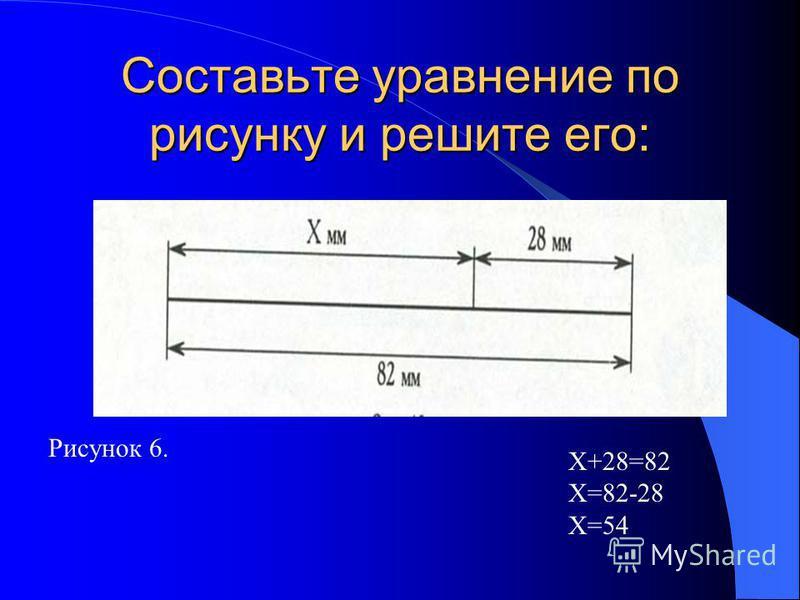 Составьте уравнение по рисунку и решите его: Х+28=82 Х=82-28 Х=54 Рисунок 6.