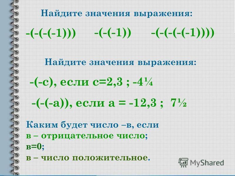 Найдите значения выражения: -(-(-(-1))) -(-(-(-(-1))))-(-(-1)) Найдите значения выражения: -(-с), если с=2,3 ; -4¼ -(-(-а)), если а = -12,3 ; 7½ Каким будет число –в, если в – отрицательное число; в=0; в – число положительное.