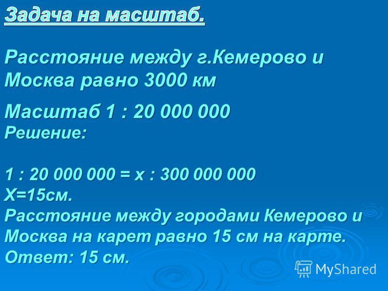 Расстояние между г.Кемерово и Москва равно 3000 км Масштаб 1 : 20 000 000 Решение: 1 : 20 000 000 = х : 300 000 000 Х=15 см. Расстояние между городами Кемерово и Москва на карет равно 15 см на карте. Ответ: 15 см.