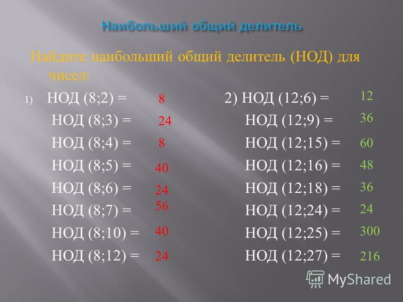 Найдите наибольший общий делитель ( НОД ) для чисел : 1) НОД (8;2) = 2) НОД (12;6) = НОД (8;3) = НОД (12;9) = НОД (8;4) = НОД (12;15) = НОД (8;5) = НОД (12;16) = НОД (8;6) = НОД (12;18) = НОД (8;7) = НОД (12;24) = НОД (8;10) = НОД (12;25) = НОД (8;12