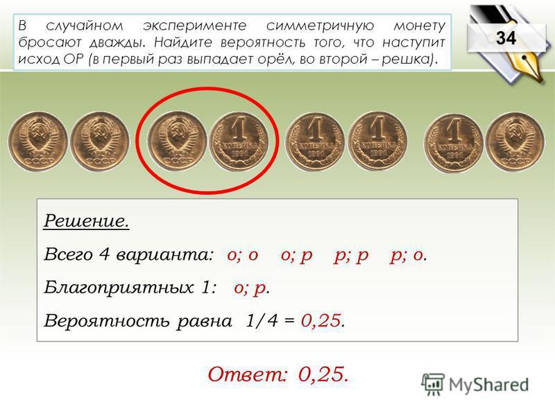 В случайном эксперименте симметричную монету бросают дважды. Найдите вероятность того, что наступит исход ОР (в первый раз выпадает орёл, во второй – решка). Решение. Всего 4 варианта: о; о о; р р; р р; о. Благоприятных 1: о; р. Вероятность равна 1/4
