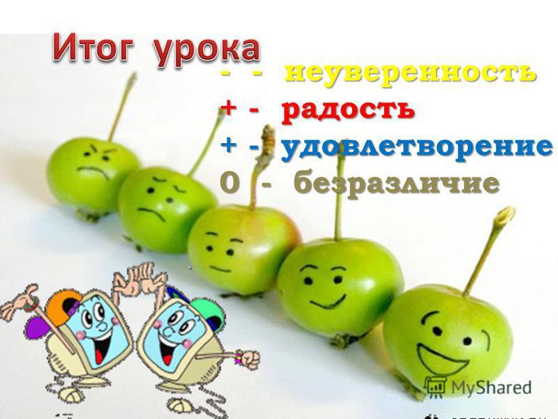 - - неуверенность + - радость + - удовлетворение 0 - безразличие