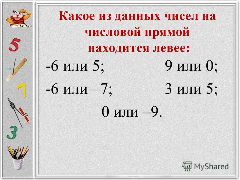 Какое из данных чисел на числовой прямой находится левее: -6 или 5; 9 или 0; -6 или –7; 3 или 5; 0 или –9.