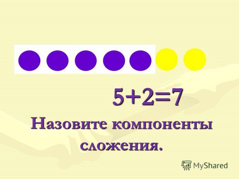5+2=7 Назовите компоненты сложения. 5+2=7 Назовите компоненты сложения.