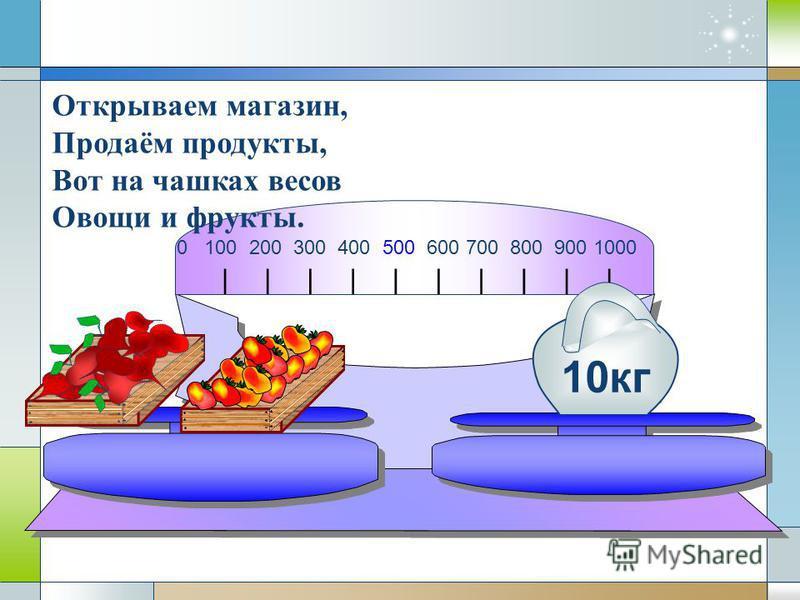 0 100 200 300 400 500 600 700 800 900 1000 10 кг Открываем магазин, Продаём продукты, Вот на чашках весов Овощи и фрукты.