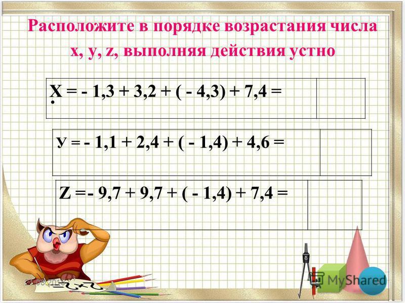 Расположите в порядке возрастания числа х, у, z, выполняя действия устно 21.08.201518 Х = - 1,3 + 3,2 + ( - 4,3) + 7,4 = У = - 1,1 + 2,4 + ( - 1,4) + 4,6 = Z = - 9,7 + 9,7 + ( - 1,4) + 7,4 =