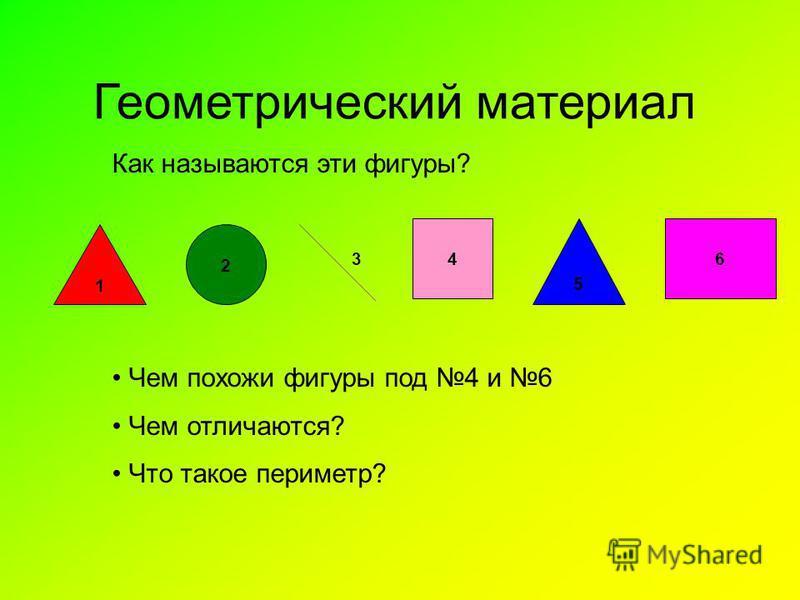 Геометрический материал Как называются эти фигуры? 1 2 64 5 3 Чем похожи фигуры под 4 и 6 Чем отличаются? Что такое периметр?