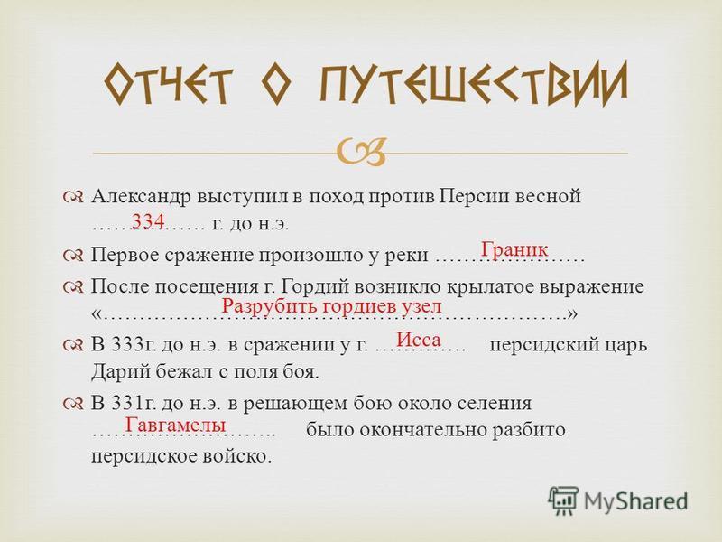Александр выступил в поход против Персии весной ……………. г. до н. э. Первое сражение произошло у реки ………………… После посещения г. Гордий возникло крылатое выражение «……………………………………………………….» В 333 г. до н. э. в сражении у г. …………. персидский царь Дарий б