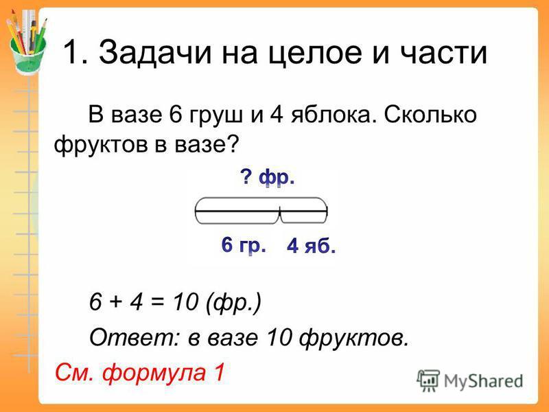 1. Задачи на целое и части В вазе 6 груш и 4 яблока. Сколько фруктов в вазе? 6 + 4 = 10 (фр.) Ответ: в вазе 10 фруктов. См. формула 1