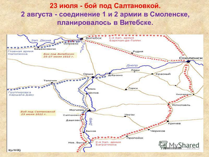 23 июля - бой под Салтановкой. 2 августа - соединение 1 и 2 армии в Смоленске, планировалось в Витебске.