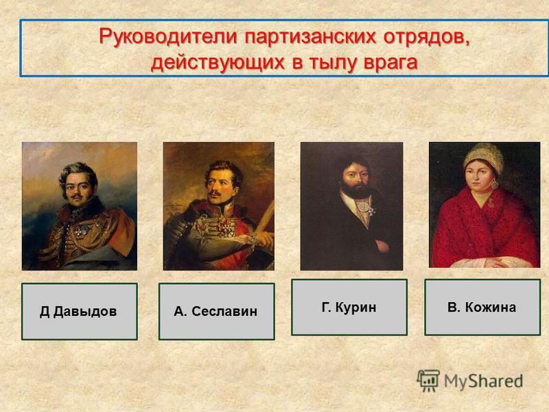 Руководители партизанских отрядов, действующих в тылу врага Д ДавыдовА. Сеславин Г. КуринВ. Кожина