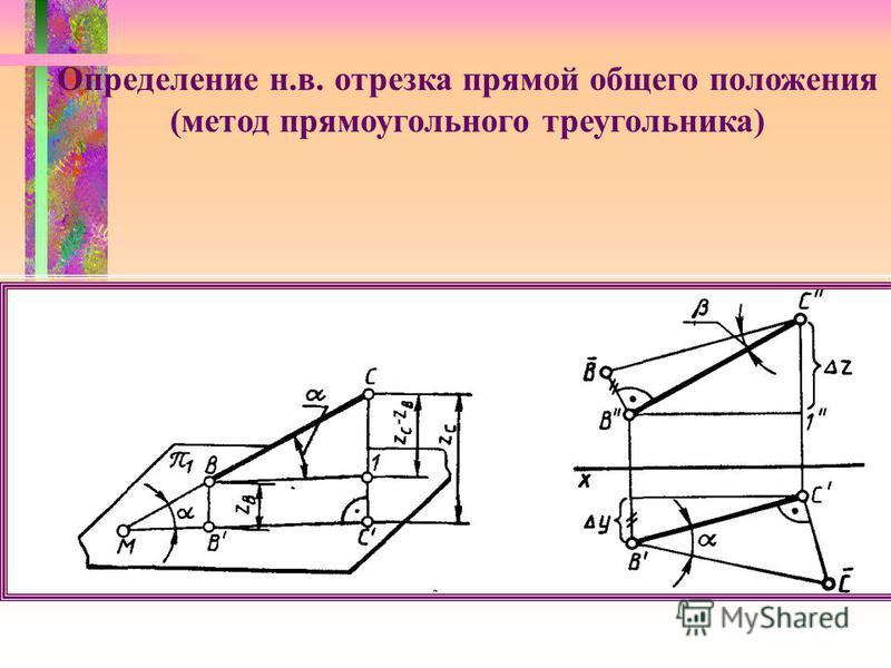 Определение н.в. отрезка прямой общего положения (метод прямоугольного треугольника)
