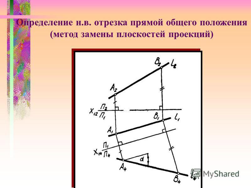 Определение н.в. отрезка прямой общего положения (метод замены плоскостей проекций)