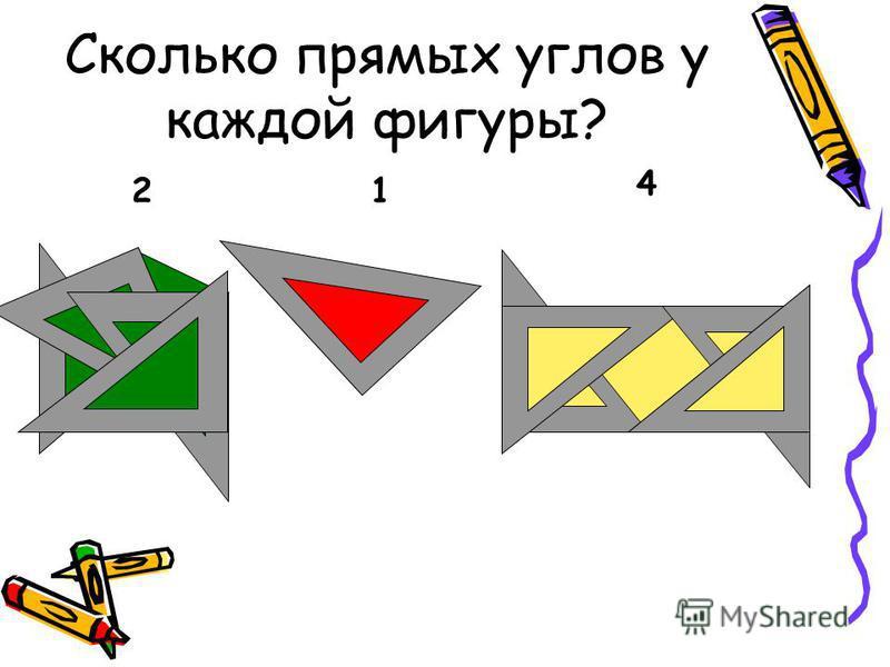 Сколько прямых углов у каждой фигуры? 21 4