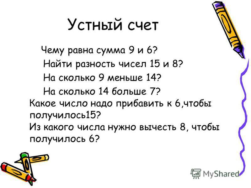 Устный счет Чему равна сумма 9 и 6? Найти разность чисел 15 и 8? На сколько 9 меньше 14? На сколько 14 больше 7? Какое число надо прибавить к 6,чтобы получилось 15? Из какого числа нужно вычесть 8, чтобы получилось 6?