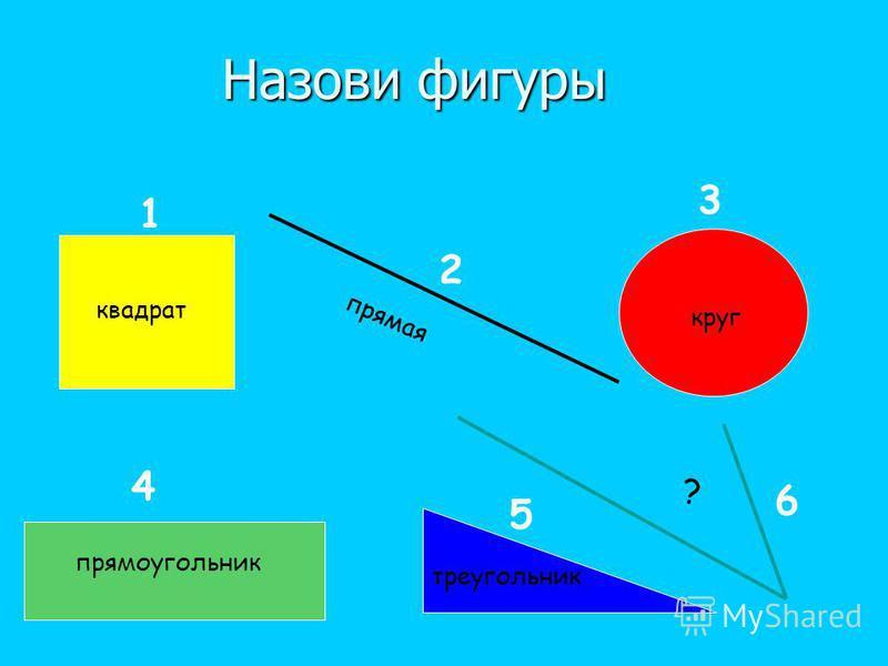 Назови фигуры 1 2 3 4 5 6 квадрат прямая круг прямоугольник треугольник ?