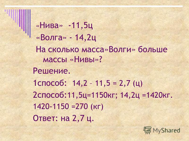 « Нива» -11,5 ц «Волга» - 14,2 ц На сколько масса»Волги» больше массы «Нивы»? Решение. 1 способ: 14,2 – 11,5 = 2,7 (ц) 2 способ: 11,5 ц=1150 кг; 14,2 ц =1420 кг. 1420-1150 =270 (кг) Ответ: на 2,7 ц.