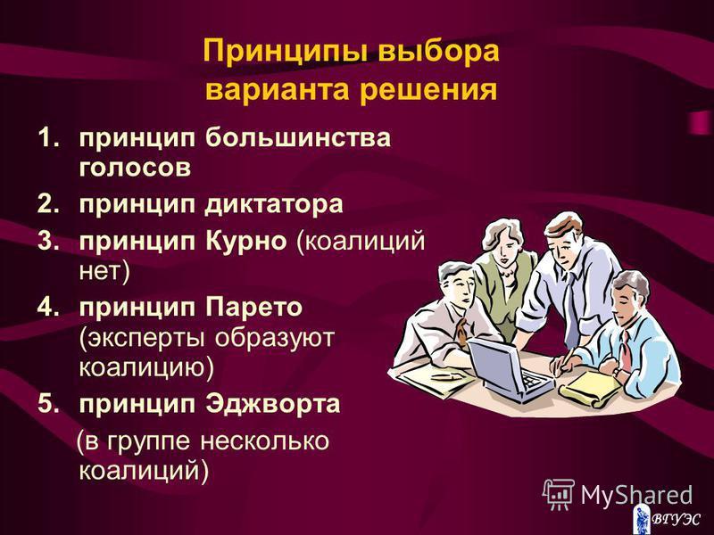 Принципы выбора варианта решения 1. принцип большинства голосов 2. принцип диктатора 3. принцип Курно (коалиций нет) 4. принцип Парето (эксперты образуют коалицию) 5. принцип Эджворта (в группе несколько коалиций)