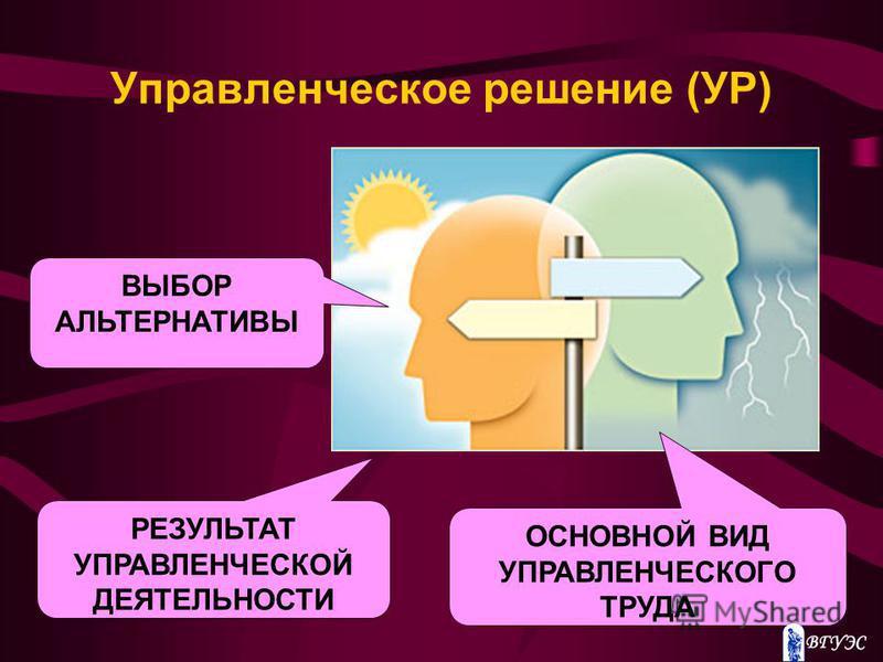 Управленческое решение (УР) РЕЗУЛЬТАТ УПРАВЛЕНЧЕСКОЙ ДЕЯТЕЛЬНОСТИ ОСНОВНОЙ ВИД УПРАВЛЕНЧЕСКОГО ТРУДА ВЫБОР АЛЬТЕРНАТИВЫ