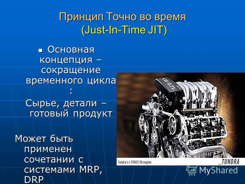 Принцип Точно во время (Just-In-Time JIT) Основная концепция – сокращение временного цикла : Основная концепция – сокращение временного цикла : Сырье, детали – готовый продукт Может быть применен сочетании с системами MRP, DRP