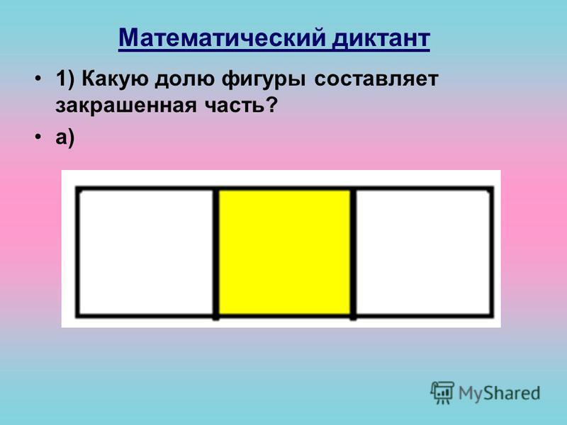 Математический диктант 1) Какую долю фигуры составляет закрашенная часть? а)