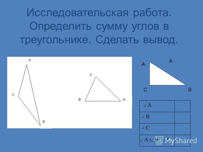 Исследовательская работа. Определить сумму углов в треугольнике. Сделать вывод. А СВ С А С В А В А В С A+ B + C А