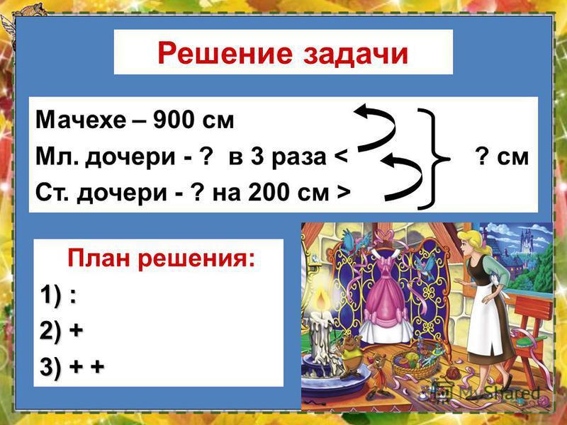 13 Мачехе – 900 см Мл. дочери - ? в 3 раза < ? см Ст. дочери - ? на 200 см > План решения: 1) : 2) + 3) + +