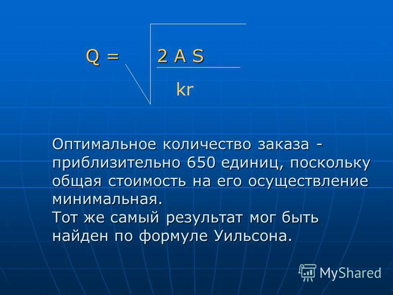 Q = 2 A S Q = 2 A S kr Оптимальное количество заказа - приблизительно 650 единиц, поскольку общая стоимость на его осуществление минимальная. Тот же самый результат мог быть найден по формуле Уильсона.