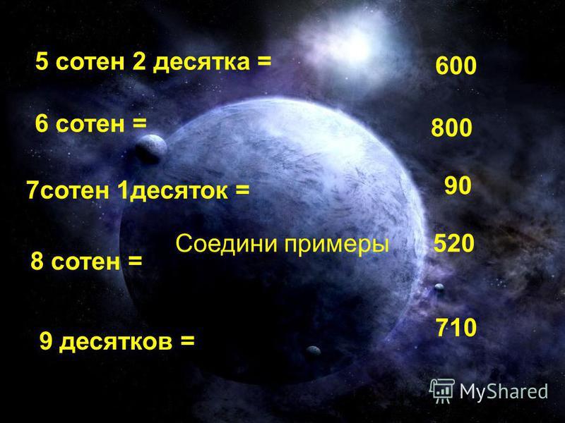 Соедини примеры 5 сотен 2 десятка = 520 6 сотен = 600 семь 7 сотен 1 десяток = 710 8 сотен 8 сотен = 800 9 десятков = 90