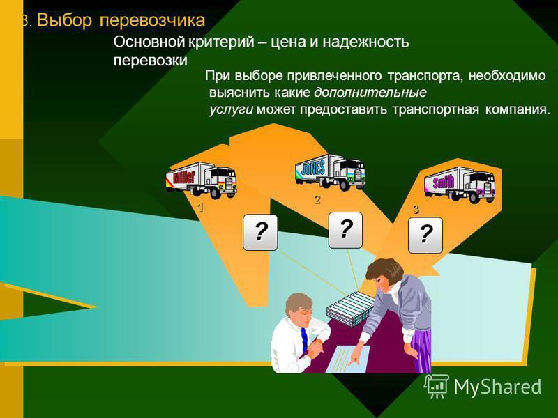 3. Выбор перевозчика 1 2 3 ? ? ? При выборе привлеченного транспорта, необходимо выяснить какие дополнительные услуги может предоставить транспортная компания. Основной критерий – цена и надежность перевозки
