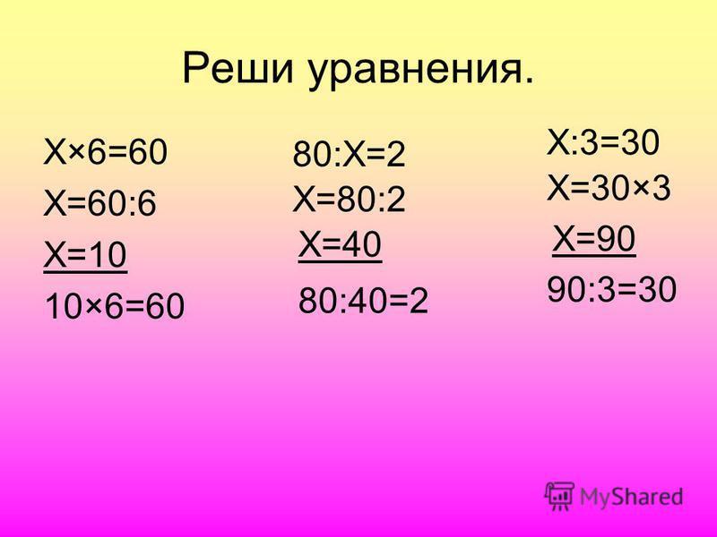 Реши уравнения. Х×6=60 Х=60:6 Х=10 10×6=60 80:Х=2 Х=80:2 Х=40 80:40=2 Х:3=30 Х=30×3 Х=90 90:3=30