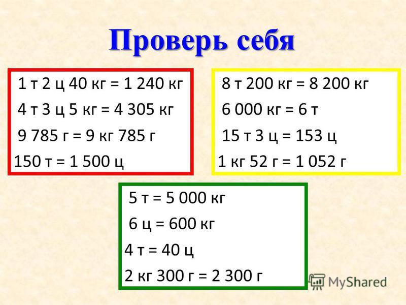 Проверь себя 1 т 2 ц 40 кг = 1 240 кг 4 т 3 ц 5 кг = 4 305 кг 9 785 г = 9 кг 785 г 150 т = 1 500 ц 5 т = 5 000 кг 6 ц = 600 кг 4 т = 40 ц 2 кг 300 г = 2 300 г 8 т 200 кг = 8 200 кг 6 000 кг = 6 т 15 т 3 ц = 153 ц 1 кг 52 г = 1 052 г