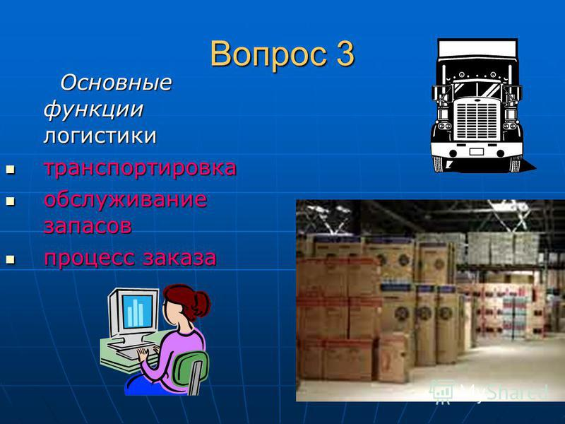 Вопрос 3 Основные функции логистики Основные функции логистики транспортировка транспортировка обслуживание запасов обслуживание запасов процесс заказа процесс заказа