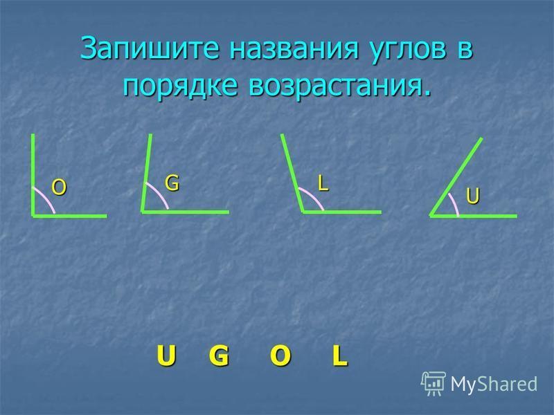 Запишите названия углов в порядке возрастания. O G U L U G O L