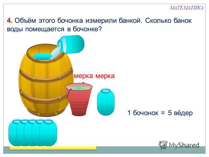 4. Объём этого бочонка измерили банкой. Сколько банок воды помещается в бочонке? 1 бочонок =5 вёдер мерка МАТЕМАТИКА