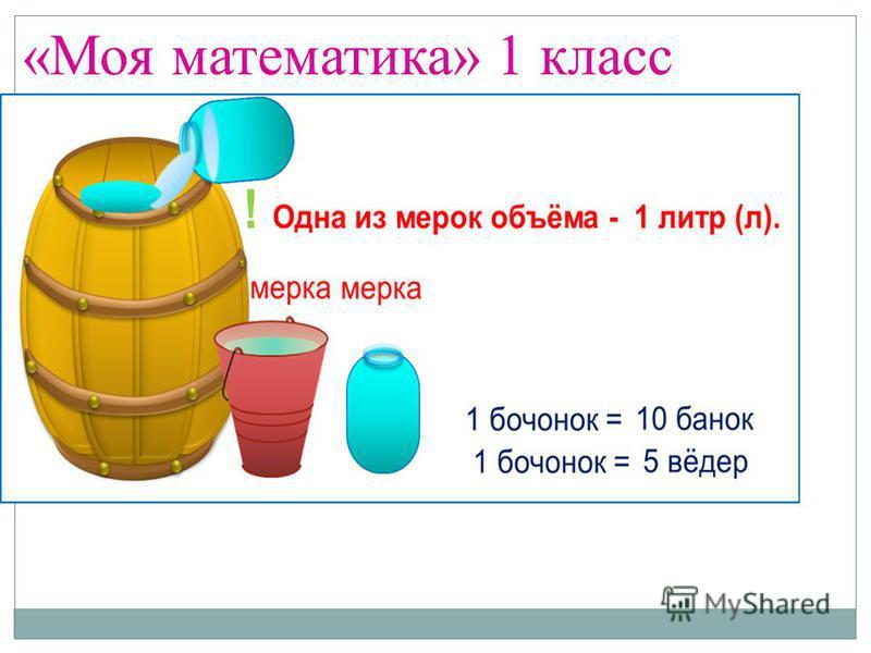 «Моя математика» 1 класс Тема урока: «Литр» Цель: познакомиться