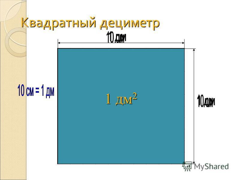 Квадратный дециметр 10. 10 = 100 ( см 2 ) 1 дм 2