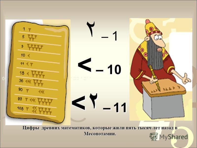 ۲ – 1 < – 10 <۲ – 11 Цифры древних математиков, которые жили пять тысяч лет назад в Месопотамии.