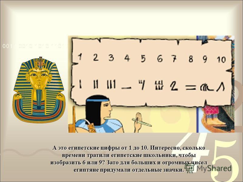 А это египетские цифры от 1 до 10. Интересно, сколько времени тратили египетские школьники, чтобы изобразить 6 или 9? Зато для больших и огромных чисел египтяне придумали отдельные значки.