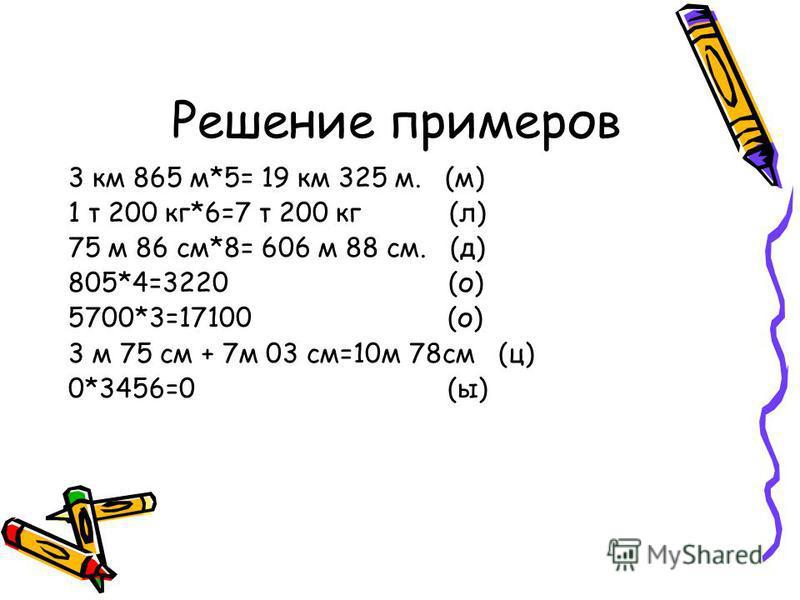 Решение примеров 3 км 865 м*5= 19 км 325 м. (м) 1 т 200 кг*6=7 т 200 кг (л) 75 м 86 см*8= 606 м 88 см. (д) 805*4=3220 (о) 5700*3=17100 (о) 3 м 75 см + 7 м 03 см=10 м 78 см (ц) 0*3456=0 (ы)