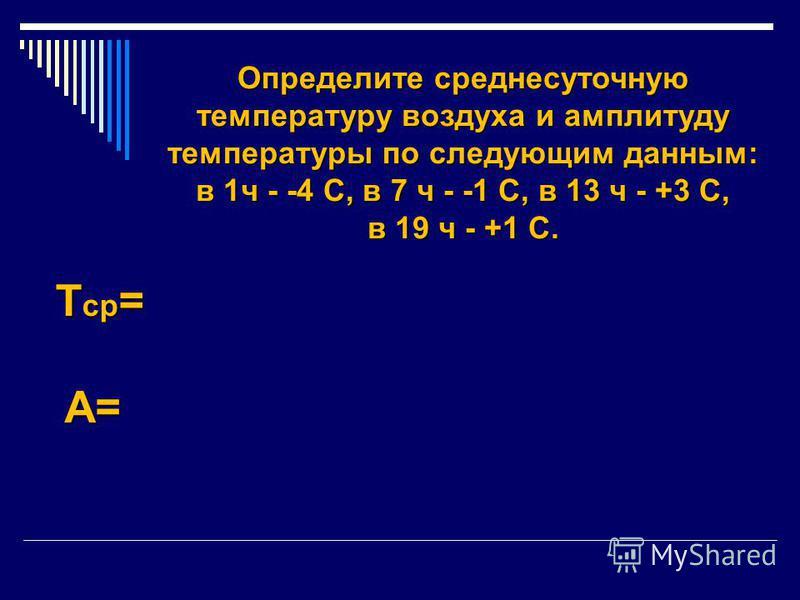 Определите среднесуточную температуру воздуха и амплитуду температуры по следующим данным: в 1 ч - -4 С, в 7 ч - -1 С, в 13 ч - +3 С, в 19 ч - +1 С. Т ср = А=