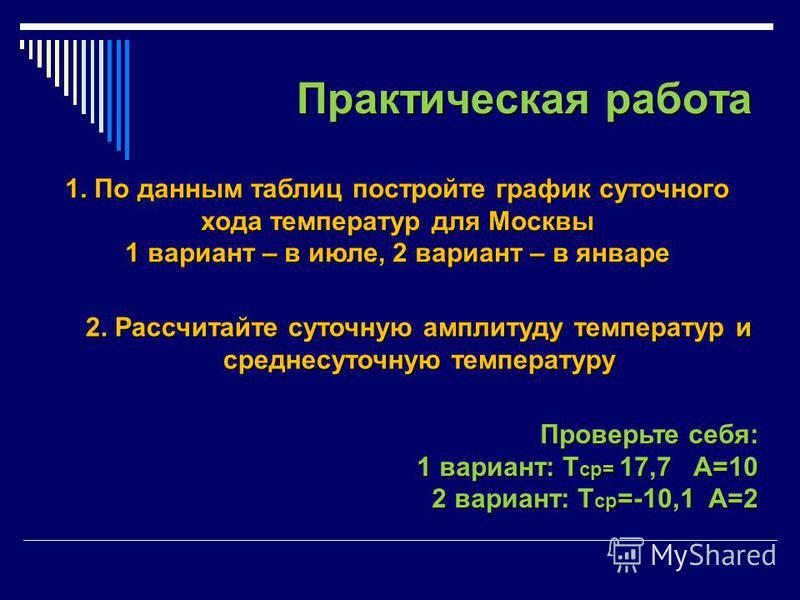 Практическая работа 1. По данным таблиц постройте график суточного хода температур для Москвы 1 вариант – в июле, 2 вариант – в январе 2. Рассчитайте суточную амплитуду температур и среднесуточную температуру Проверьте себя: 1 вариант: Т ср= 17,7 А=1