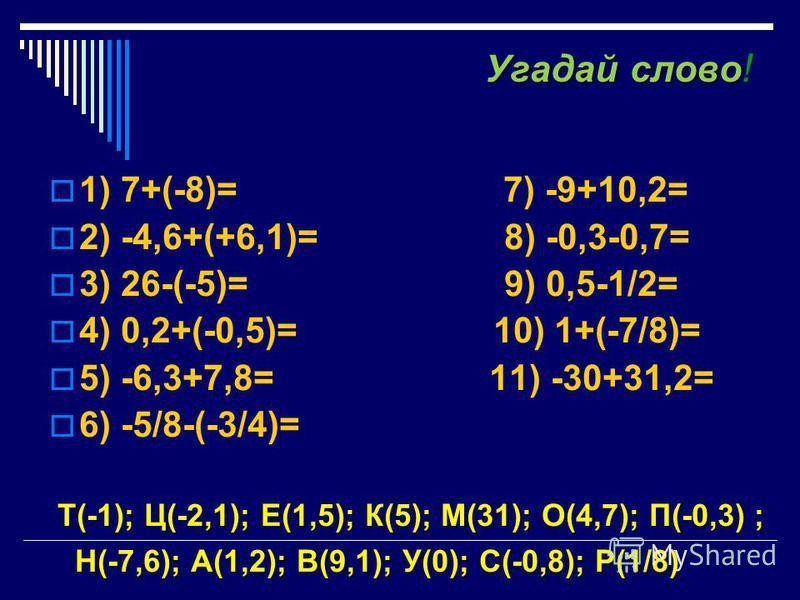 Угадайслово Угадай слово ! 1) 7+(-8)= 7) -9+10,2= 2) -4,6+(+6,1)= 8) -0,3-0,7= 3) 26-(-5)= 9) 0,5-1/2= 4) 0,2+(-0,5)= 10) 1+(-7/8)= 5) -6,3+7,8= 11) -30+31,2= 6) -5/8-(-3/4)= ----------------------------------------------------------- Т(-1); Ц(-2,1);