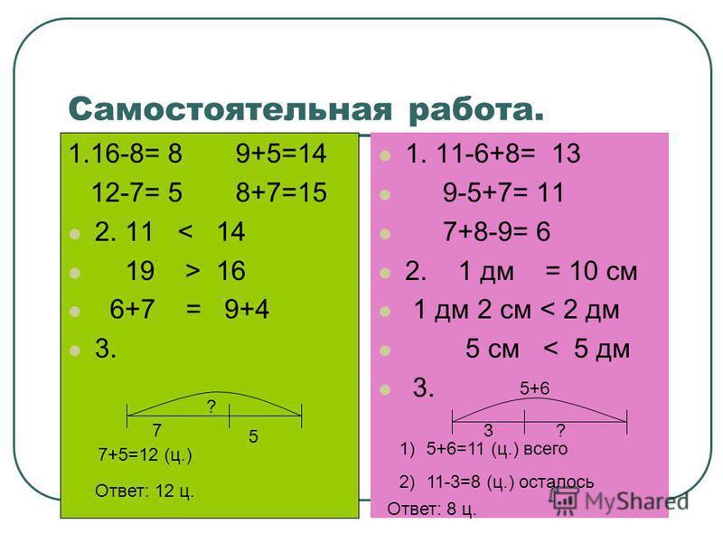 Самостоятельная работа. 1. 11-6+8= 13 9-5+7= 11 7+8-9= 6 2. 1 дм = 10 см 1 дм 2 см < 2 дм 5 см < 5 дм 3. 1.16-8= 8 9+5=14 12-7= 5 8+7=15 2. 11 < 14 19 > 16 6+7 = 9+4 3. 7 5 ? 7+5=12 (ц.) Ответ: 12 ц. 3? 5+6 1)5+6=11 (ц.) всего 2)11-3=8 (ц.) осталось