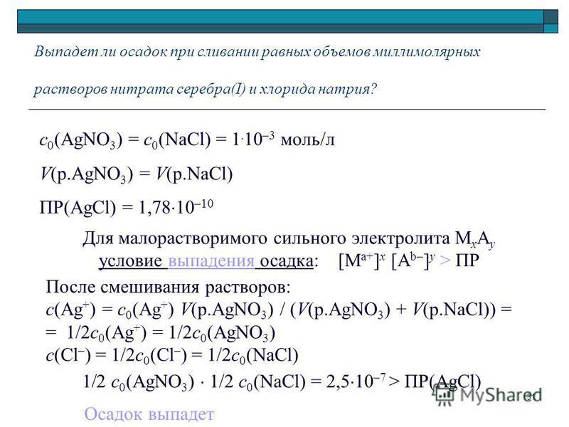 Выпадет ли осадок при сливании равных объемов милли молярных растворов нитрата серебра(I) и хлорида натрия? 1 2 c 0 (AgNO 3 ) 1/2 c 0 (NaCl) = 2,5 10 –7 > ПР(AgCl) Для малорастворимого сильного электролита М х A y условие выпадения осадка: [M a+ ] x