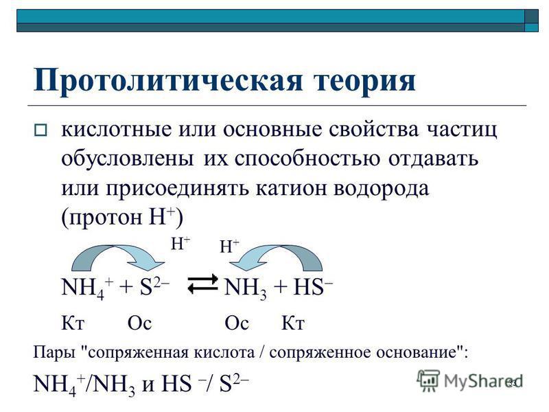 Протолитическая теория кислотные или основные свойства частиц обусловлены их способностью отдавать или присоединять катион водорода (протон Н + ) NH 4 + + S 2– NH 3 + HS – Кт Ос Ос Кт Пары