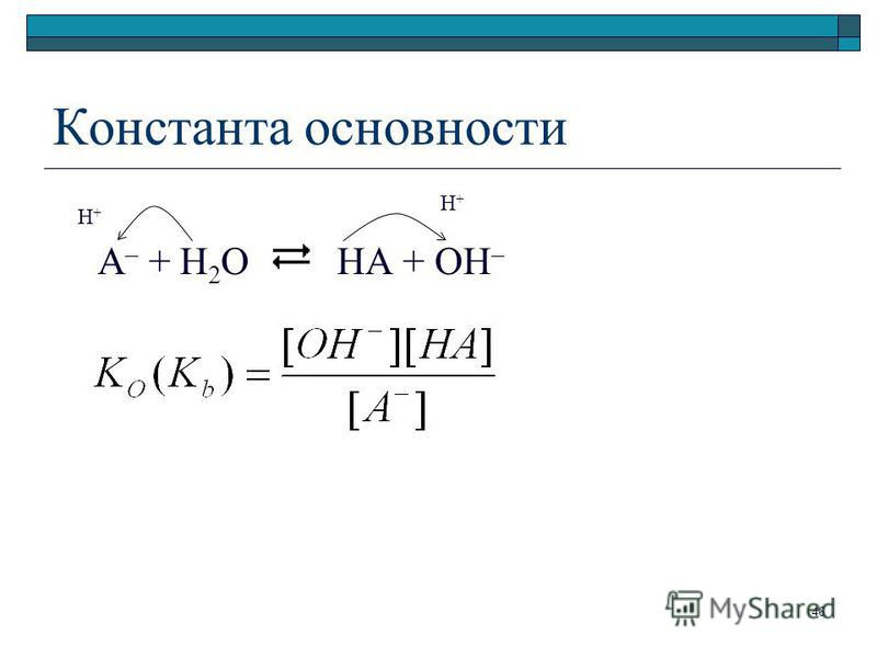 Константа основности A – + H 2 O HA + ОН – H+H+ H+H+ 46